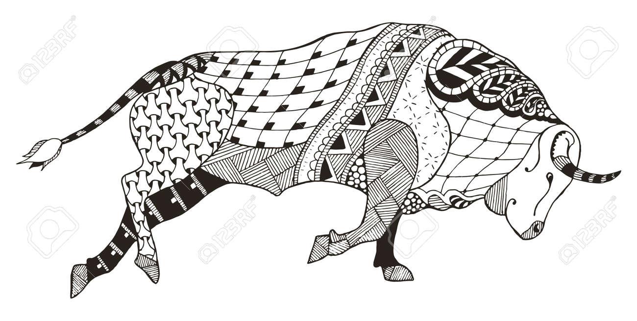 Signo Del Zodiaco Tauro Toro Ilustración Vectorial Zentangle