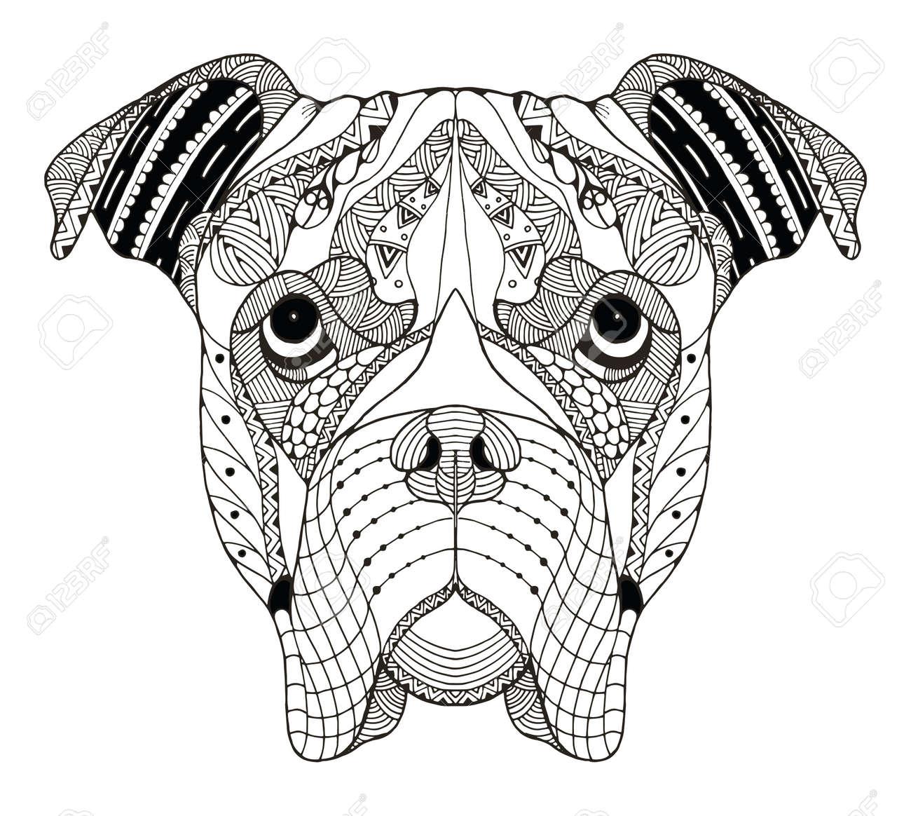 Cabeza De Perro Boxer Zentangle Estilizado Vector Ejemplo Lápiz A