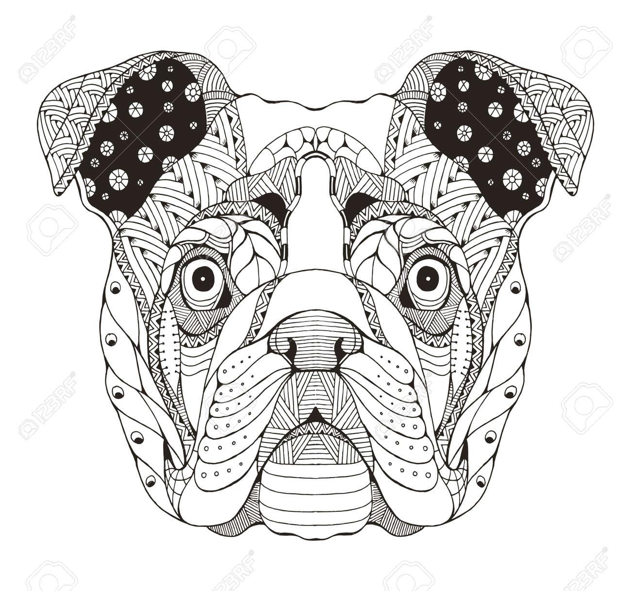 Coloriage Bouledogue Anglais.Bulldog Anglais Tete Zentangle Stylise Vecteur Illustration Crayon A Main Levee Dessine A La Main Modele Art Zen Vecteur Orne Dentelle Imprimez