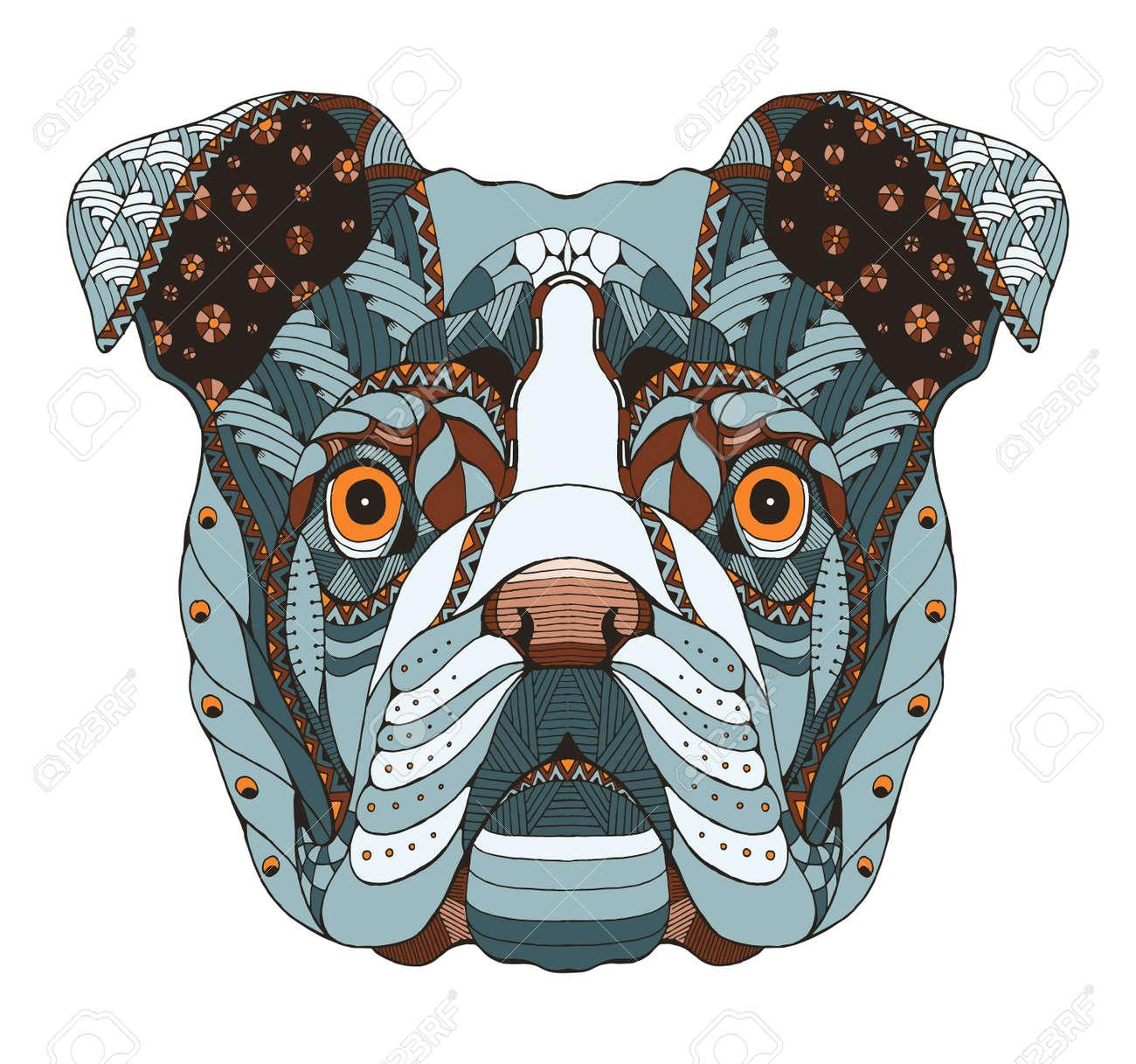 Englisch Bulldog Kopf Zentangle Stilisiert, Vektor, Freihändig ...