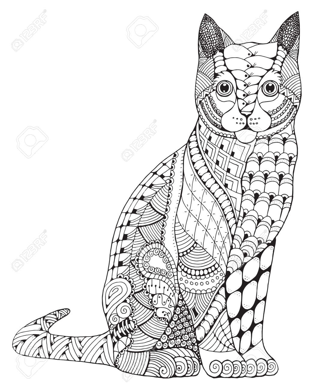 Cat zentangle stylized, vector, illustration, pattern, freehand pencil, hand drawn. Zen art. Ornate. Lace. Print for t-shirts and coloring books. - 69809307