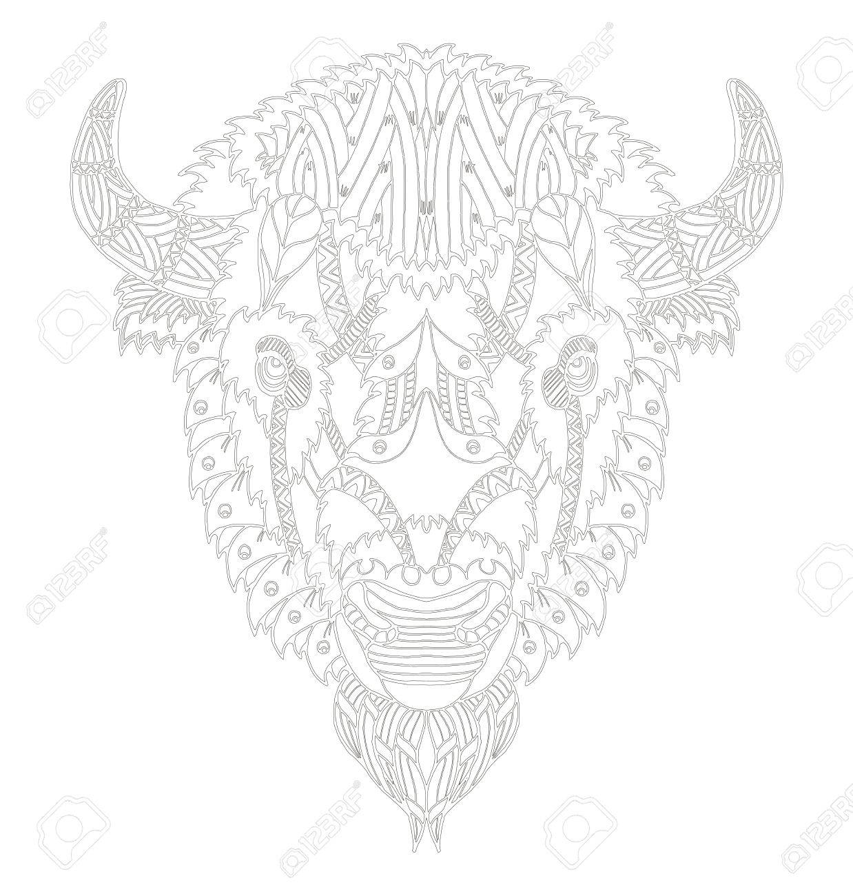 Cabeza De Búfalo Americano Zentangle Estilizado, Vector, Ilustración ...