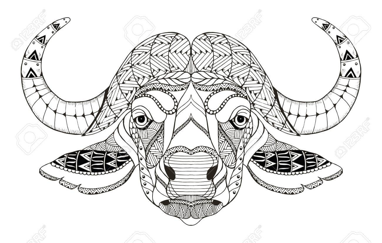 6afeeb058 African buffalo head zentangle stylized, vector, illustration, freehand  pencil, hand drawn,