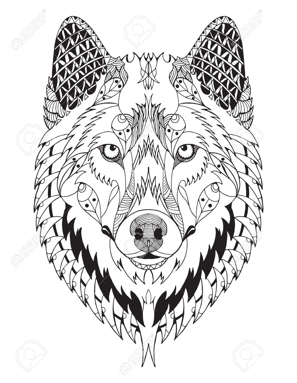 Gray Wolf Head Zentangle Stylized Vector Illustration Freehand