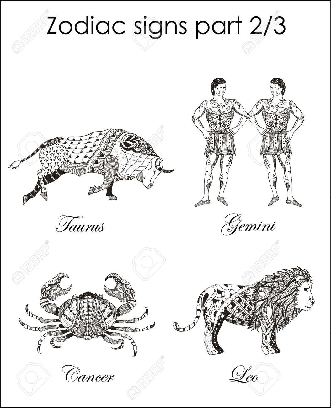 Zodiac signs taurus gemini cancer leo part two zentangle gemini cancer leo part two zentangle stylized biocorpaavc