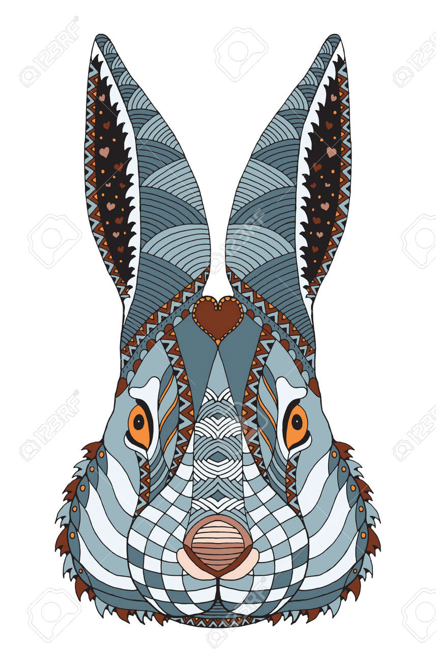 Rabbit head zentangle doodle stylized, vector, illustration,