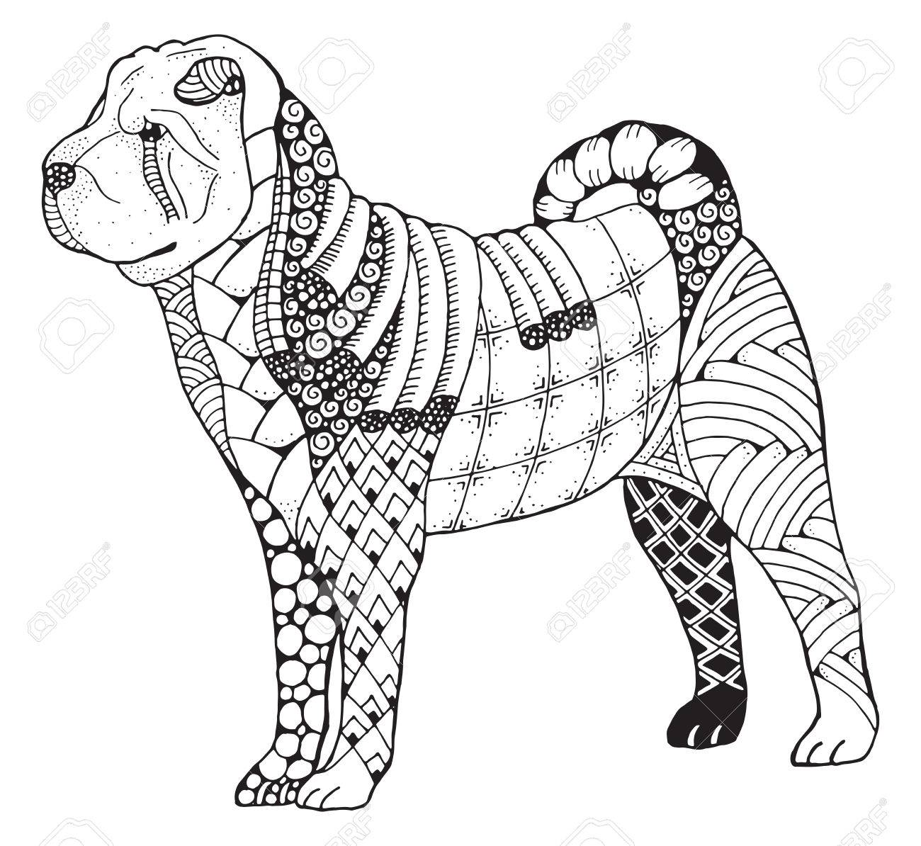 Shar pei dog zentangle doodle stylized, vector, illustration,