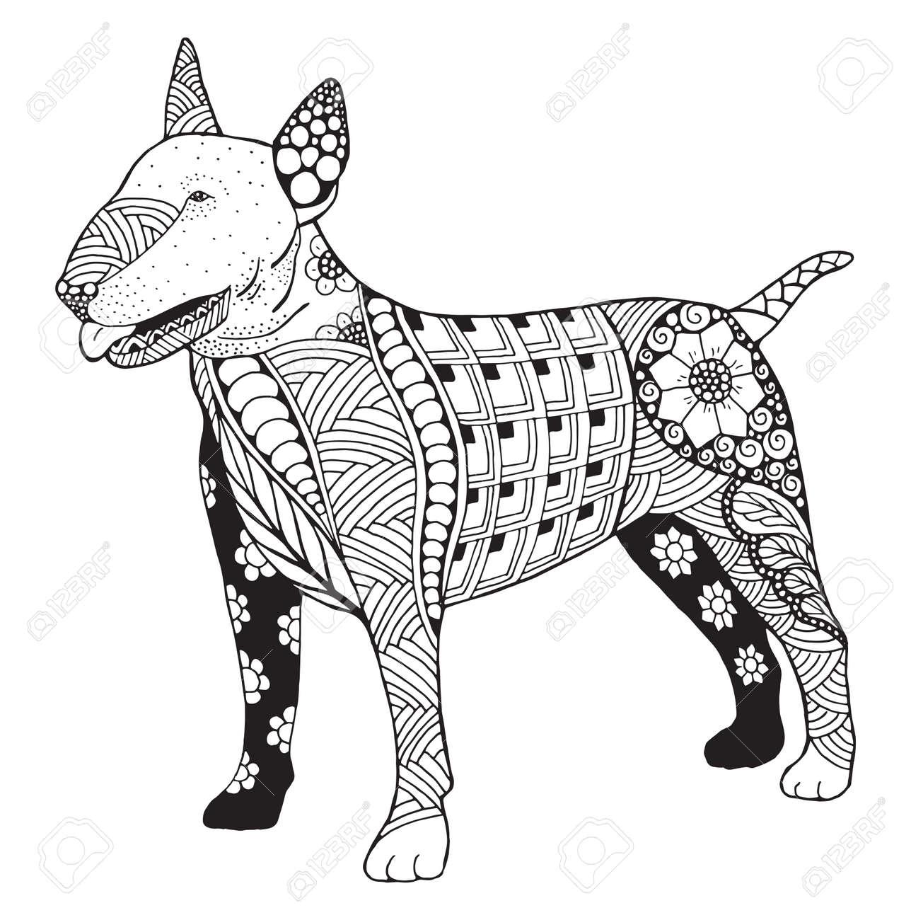 Bull Terrier Perro Del Doodle Zentangle Estilizado, Vector, Ejemplo ...