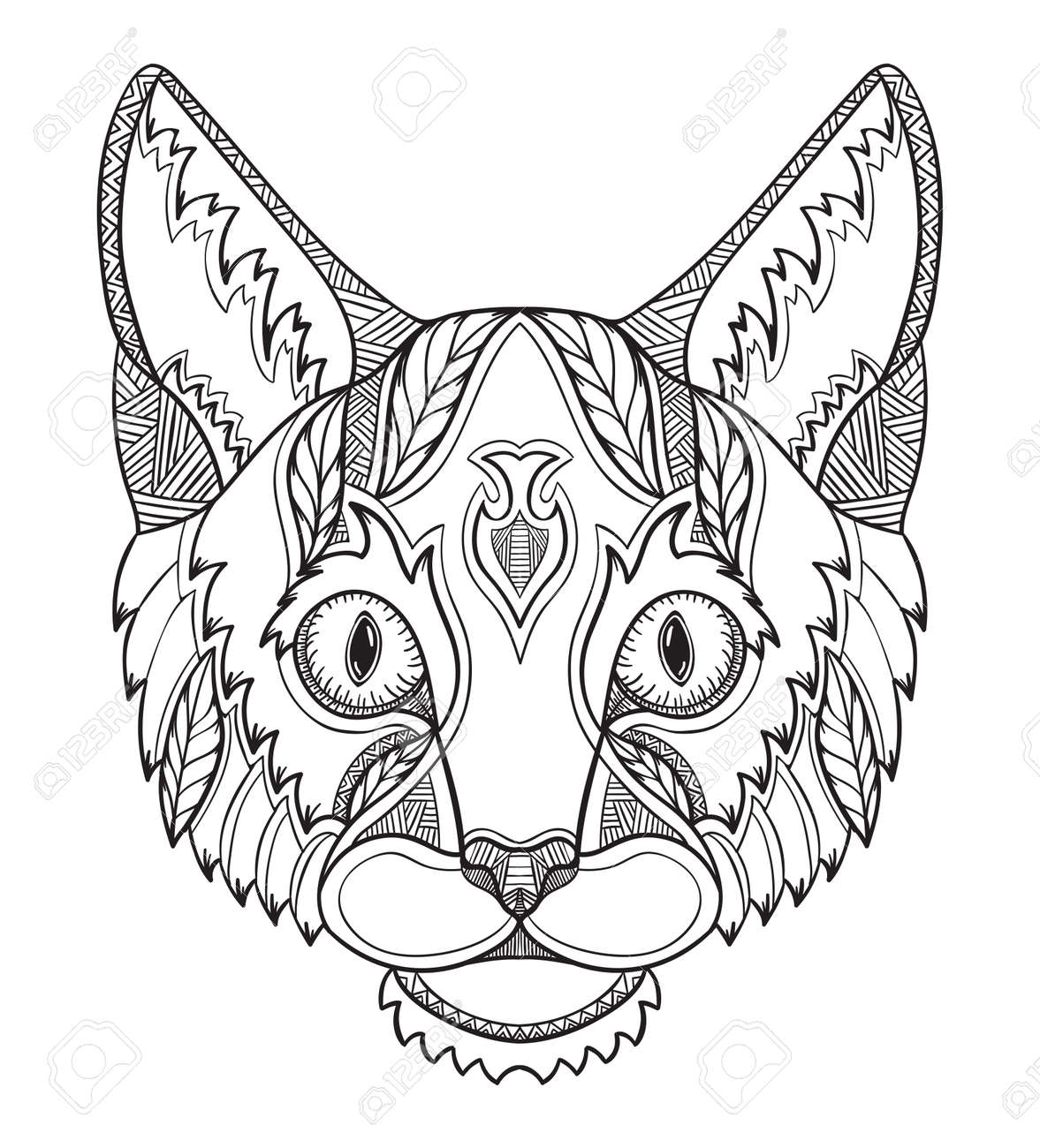 Cat Head Doodle Stylized Vector Illustration Freehand Pencil Royalty Free Cliparts Vectors And Stock Illustration Image 70234426