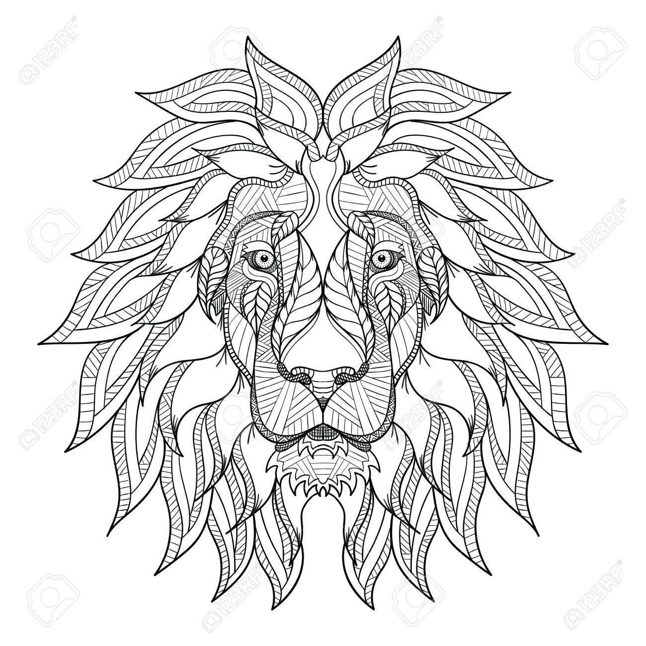 Lion Tete Zentangle Griffonnage Stylise Vecteur Illustration