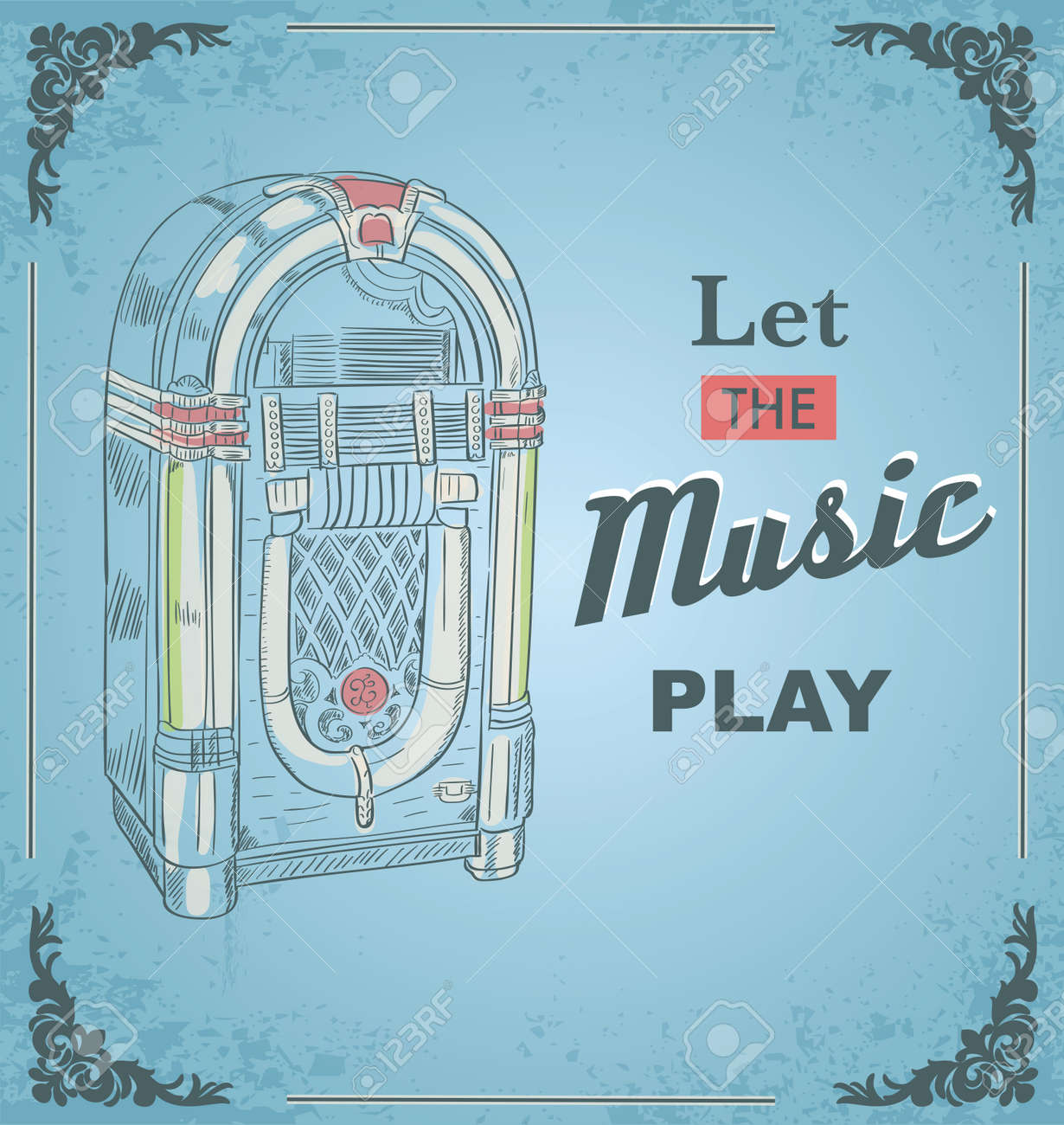 Vector illustration of retro jukebox. Quote Let the music play. Retro and vintage poster. Print for posters. - 76670371