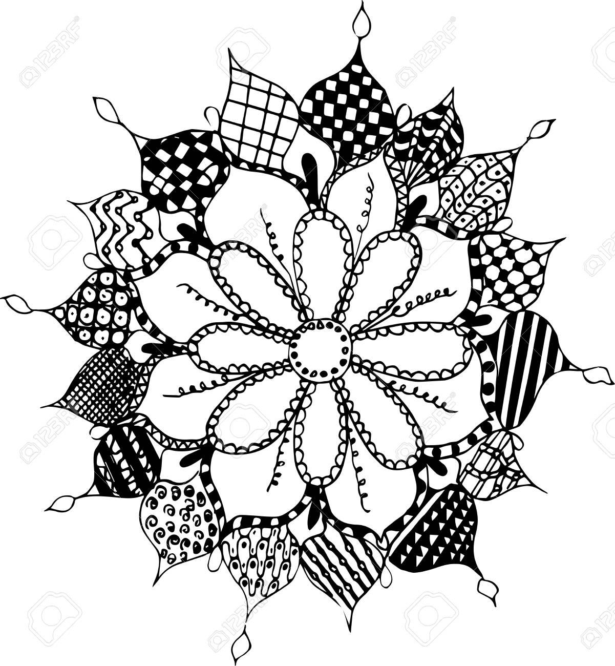 Zentangle flower, pattern, freehand, vector, illustration. Print..