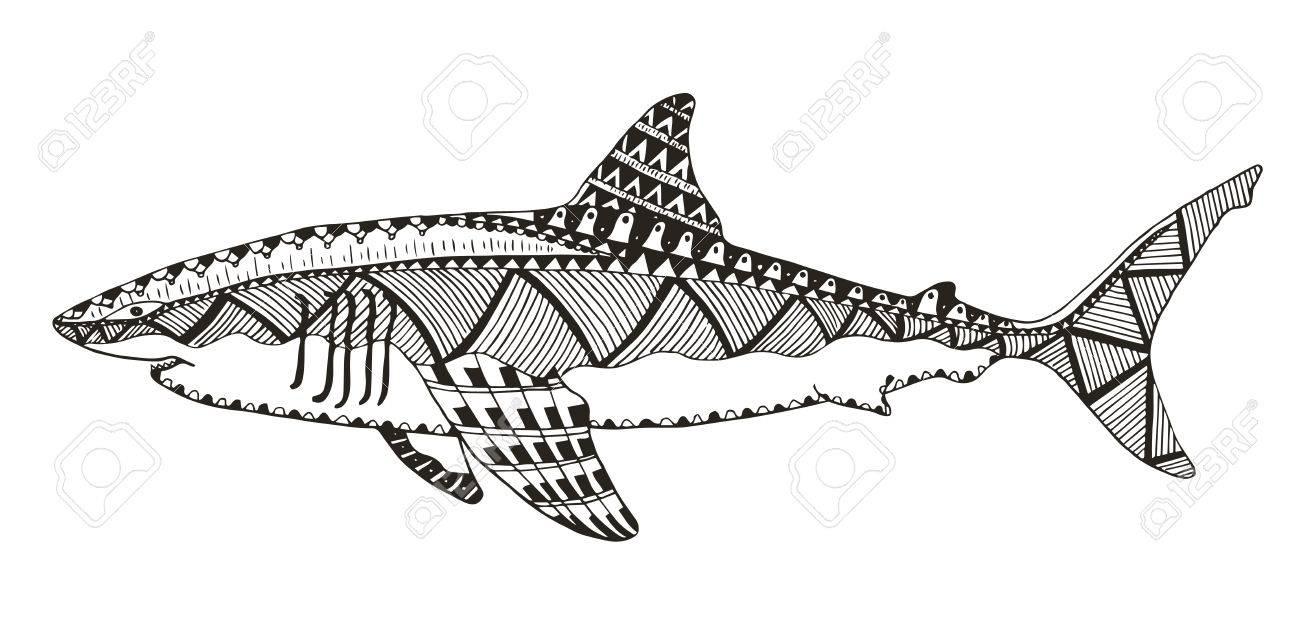 Haifisch Zentangle Stilisierte, Vektor, Illustration, Muster ...