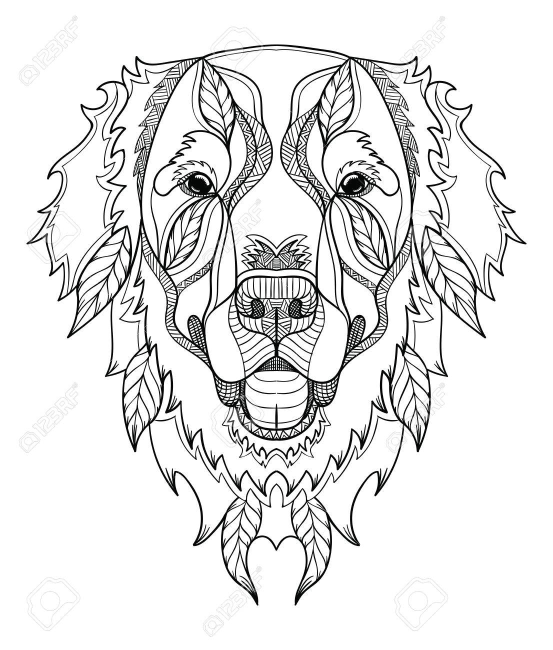 Golden Retriever Dog Zentangle Doodle Stylized Head Hand Drawn