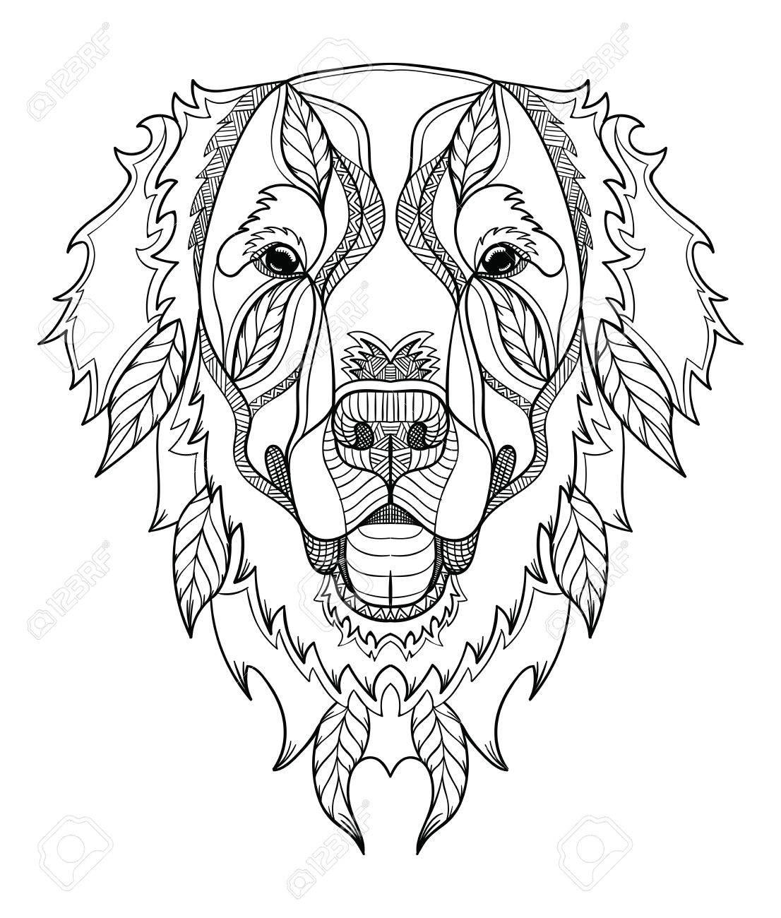 Golden Retriever Zentangle Perro Garabatos Cabeza Estilizada Dibujado A Mano Patrón Arte Zen Vector Adornado Ejemplo Blanco Y Negro Sobre Fondo