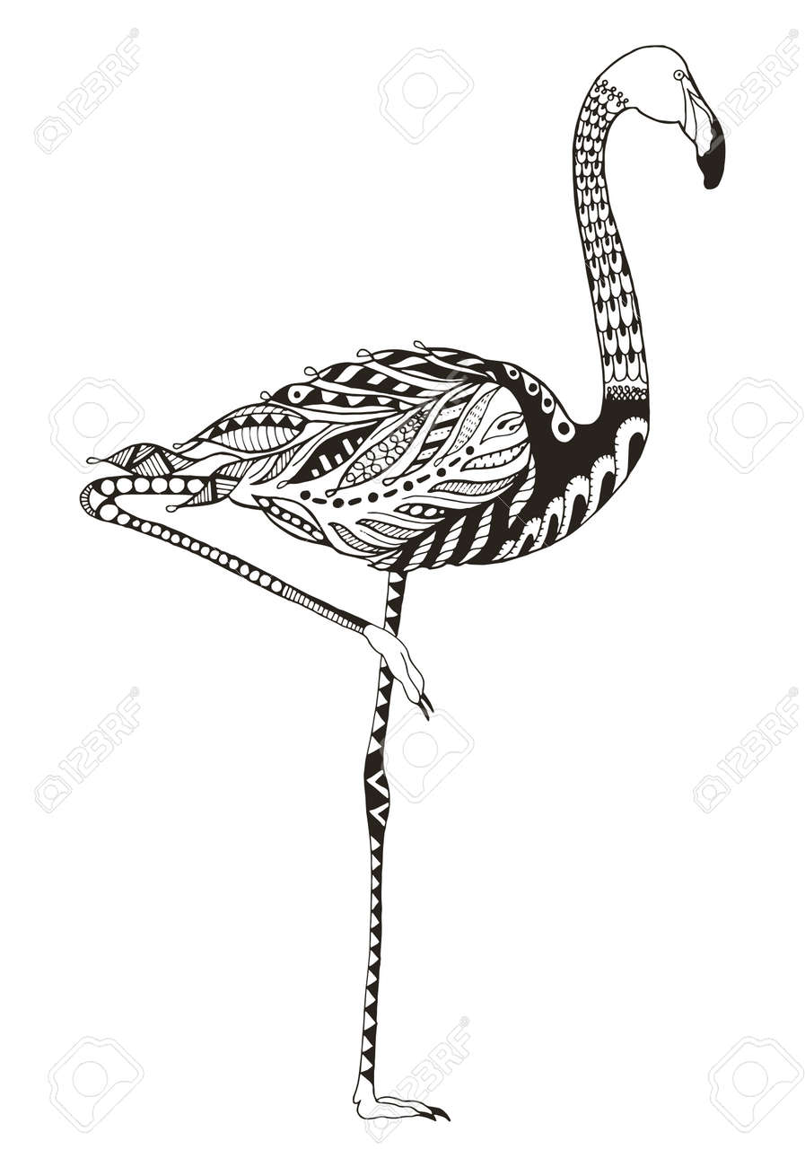 Flamingo zentangle stylized vector illustration freehand pencil
