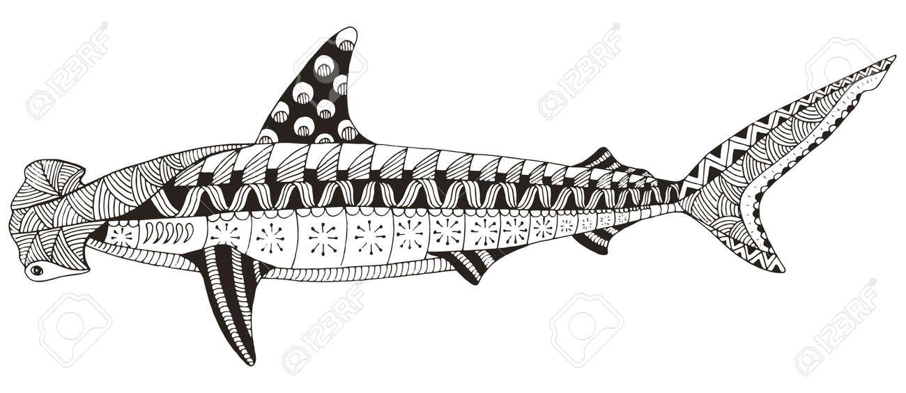Tiburón Martillo Zentangle Estilizado Vector Ilustración Patrón