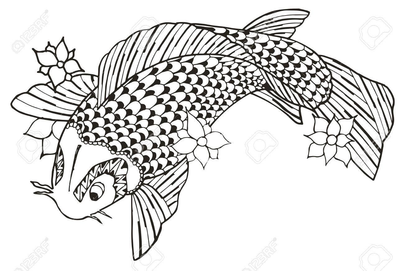 Zentangle Stilisierte Koi Fisch, Vektor, Illustration, Freihandstift ...