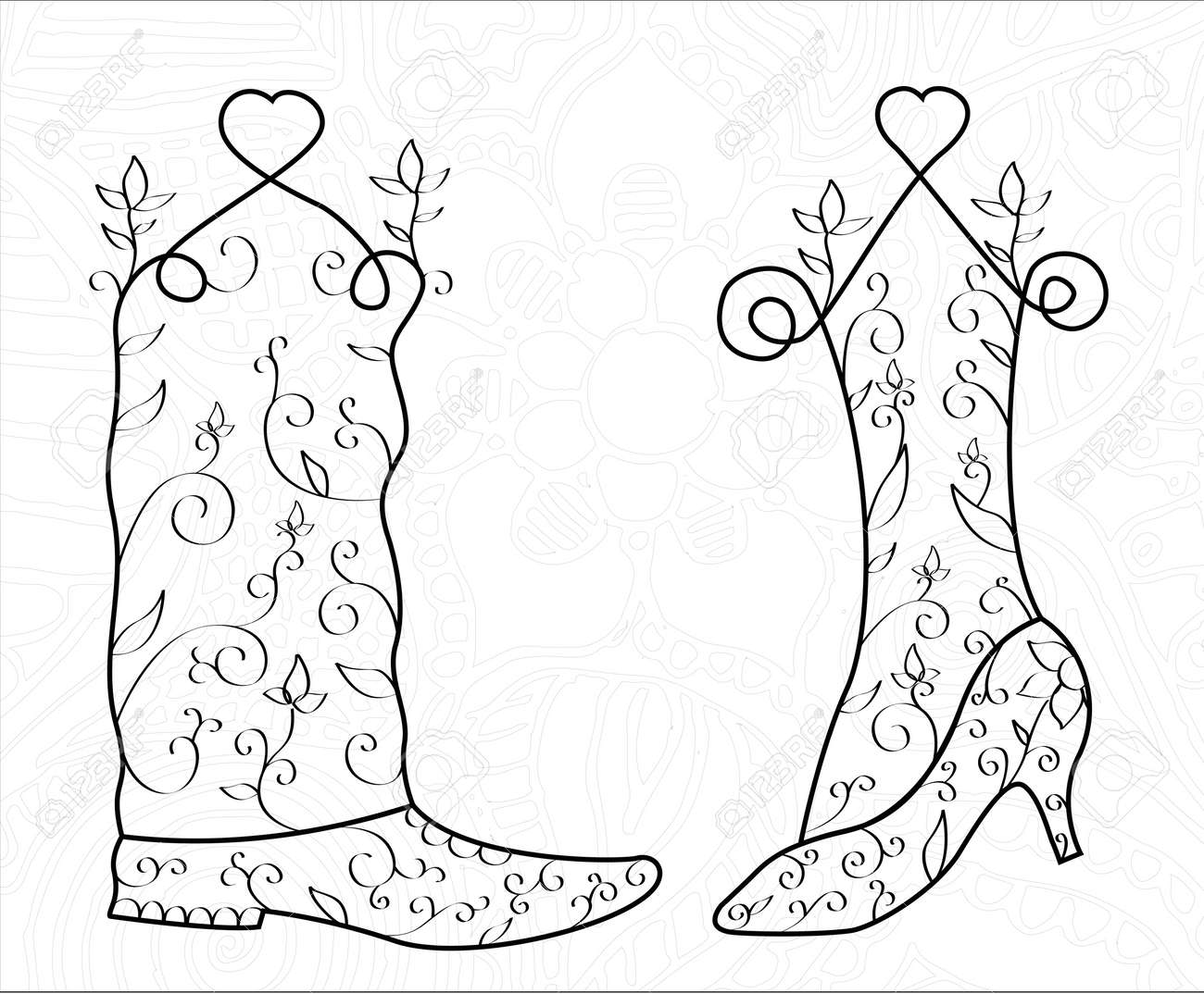 El Hombre Y La Mujer Remolinan El Zapato Corazón Boda Vector Ilustración Patrón Imprimir Para Invitaciones De Boda Diseño De Tarjeta De Boda