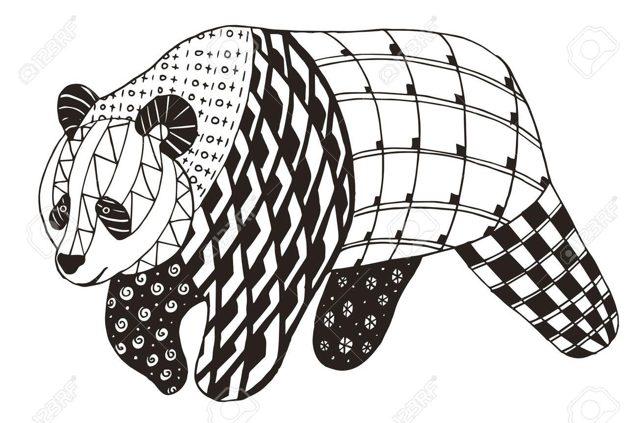 Panda Stylisé Vecteur Illustration Crayon à Main Levée Livre De