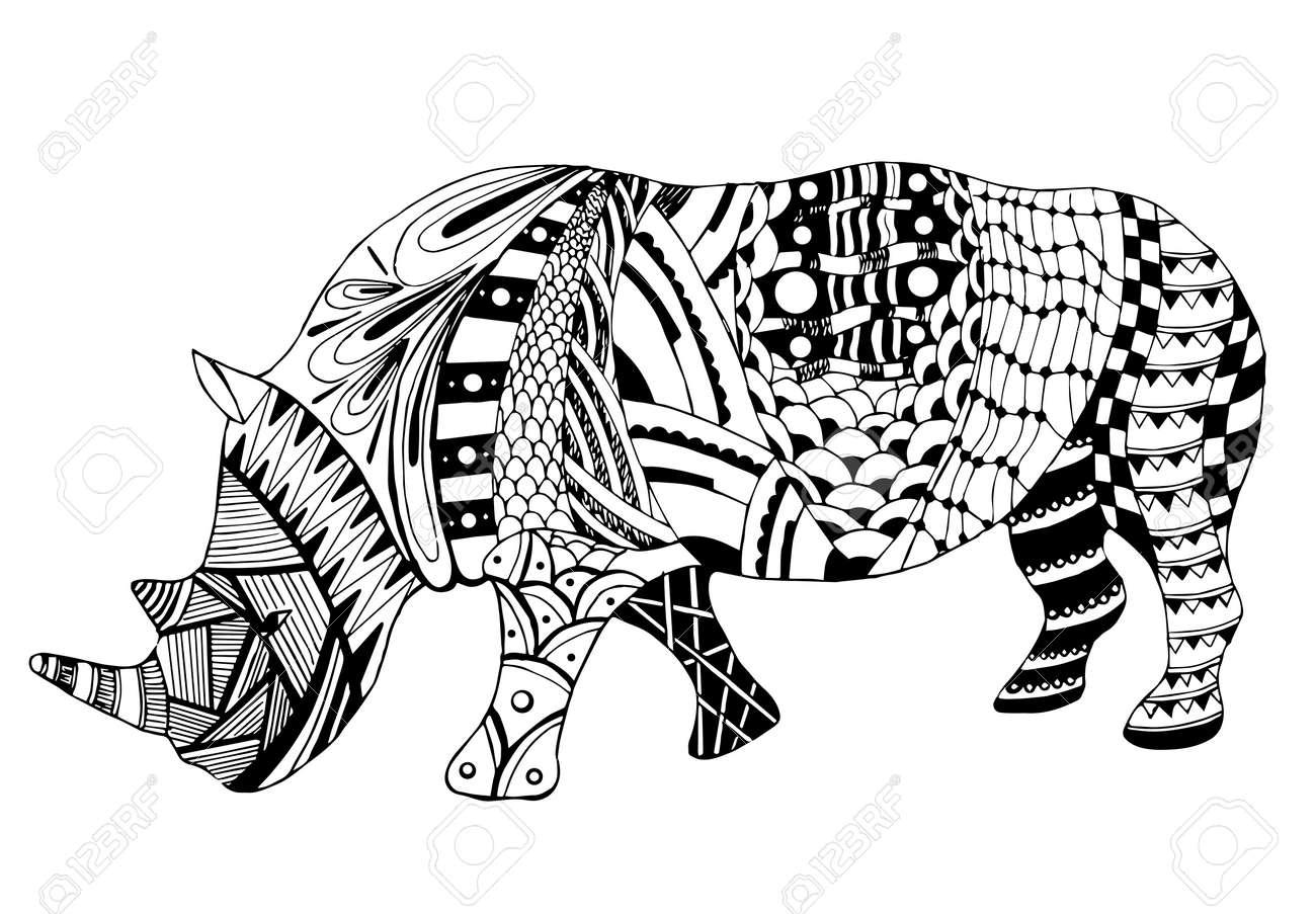 Rhino Stylisé Vecteur Illustration Crayon à Main Levée Doodle Noir Et Blanc Livre De Coloriage Imprimer Pour Les T Shirts