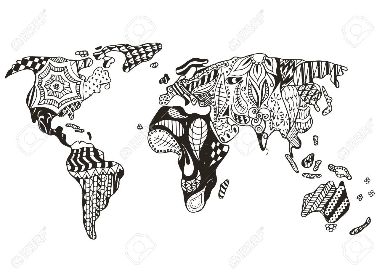 Carte Du Monde Stylisee Vecteur Illustration Crayon A Main Levee Imprimer Pour Les Livres A Colorier Clip Art Libres De Droits Vecteurs Et Illustration Image 77601822