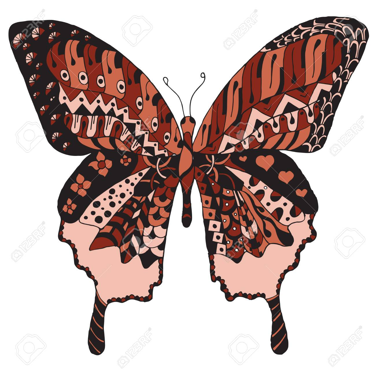 Artistically hand drawn, stylized butterfly vector, illustration, freehand pencil. Print for t-shirts. - 77601972