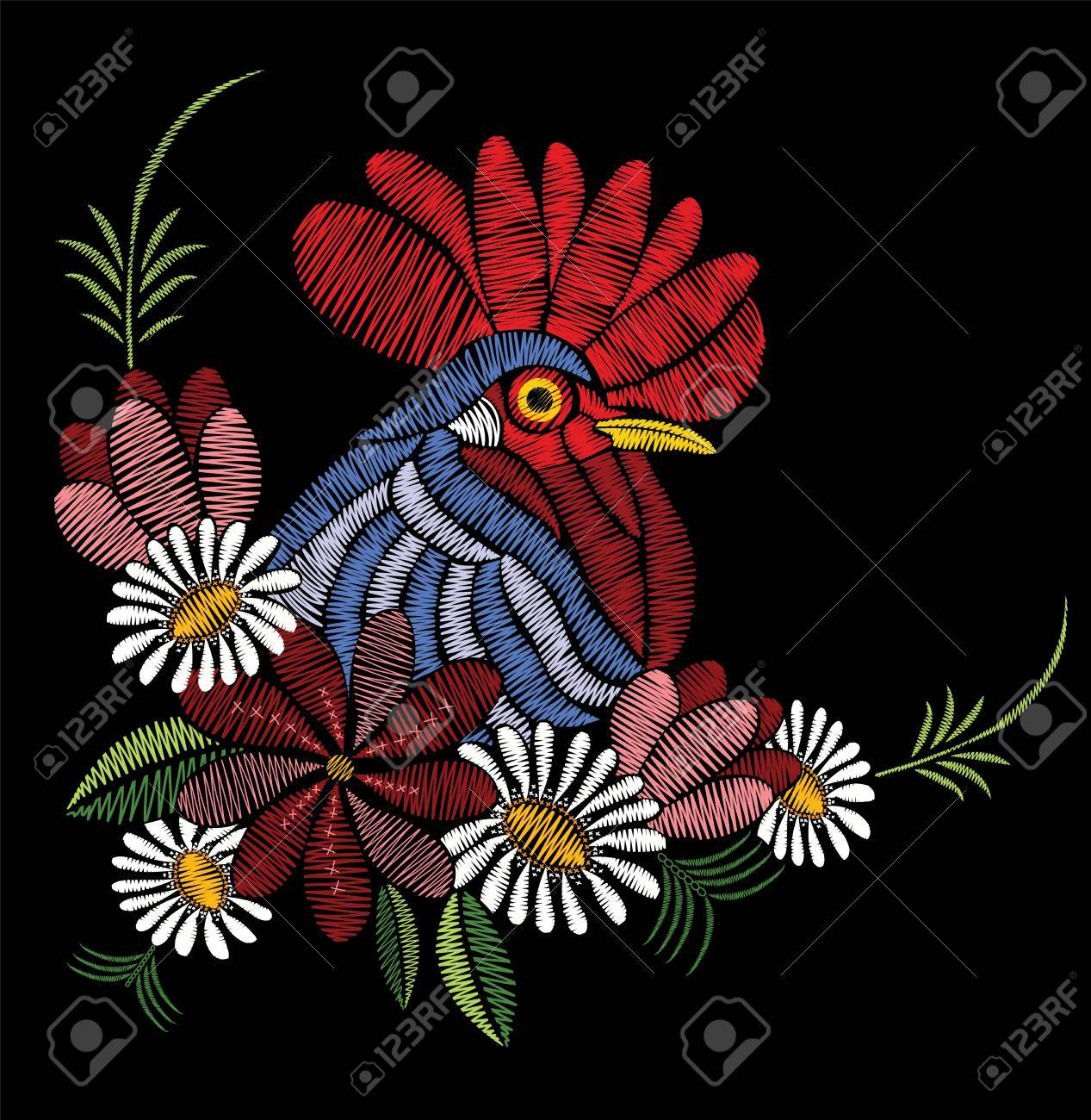Embroidery stitches with rooster, wildflowers, chamomile, leaves. Vector floral ornament decoration on black background. Print for textile and fabric. - 80261266