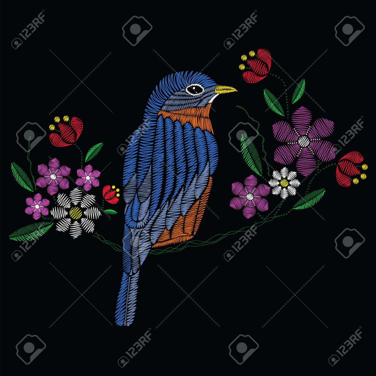 Vector illustration embroidery stitches with bluebird chamomile, spring flowers, branches in color. Fashion ornament on black background for textile and fabric traditional floral decoration. Hand drawn illustration. - 80329081