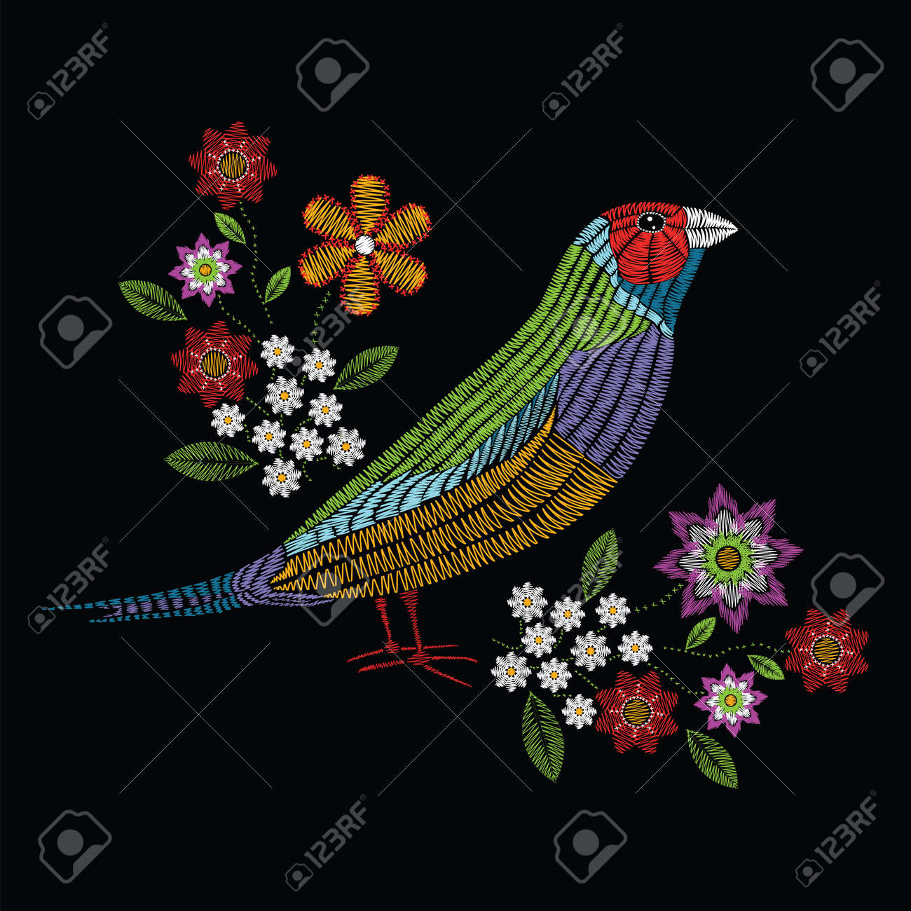 Vector illustration embroidery stitches with gouldian finch, chamomile wildflowers, spring flowers, branches in color. Fashion ornament on black background for textile and fabric traditional floral decoration. Hand drawn illustration. Print for textile an - 80436822