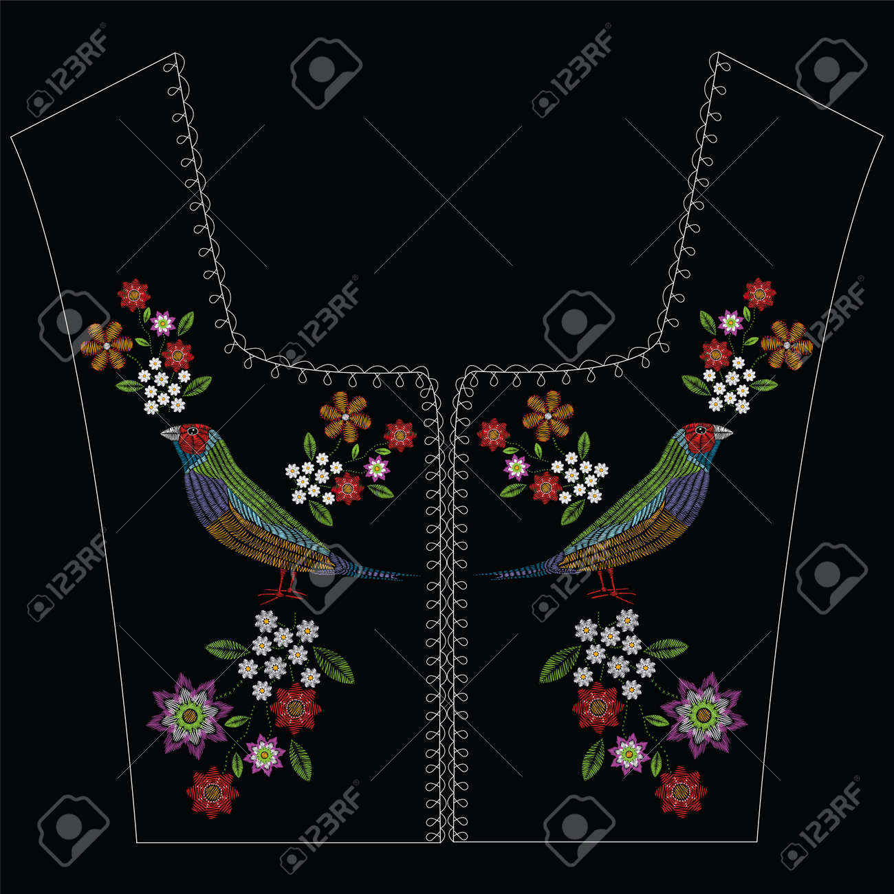Vector illustration embroidery stitches with gouldian finch, chamomile wildflowers, spring flowers, branches in color. Vector floral ornament folk decoration. Pattern for textile. Print for fabrics. - 80447041