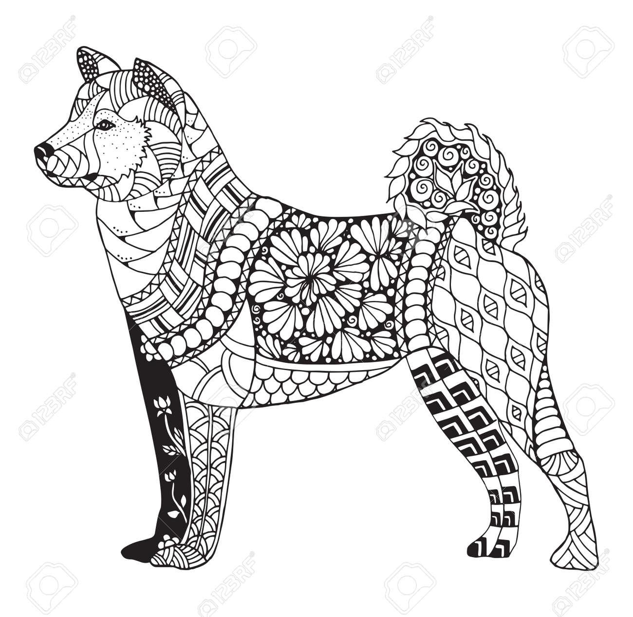 Akita dog zentangle stylized, vector, illustration, freehand pencil, hand drawn, pattern. Zen art. - 80629079