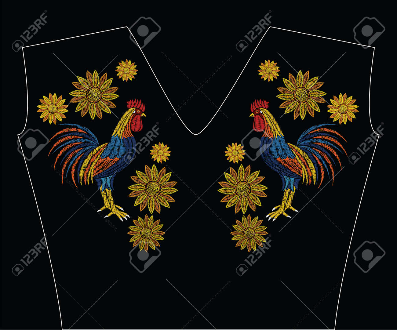 Embroidery stitches with rooster and sunflowers in pastel color. Vector fashion ornament on black background for fabric traditional folk floral decoration. Pattern for textile. Print for fabrics. - 80796698