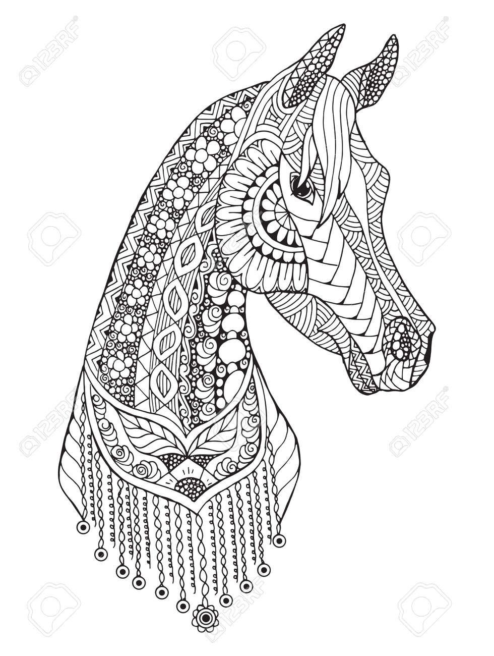 Coloriage Cheval Zen.Cheval Arabe Zentangle Stylise Vecteur Illustration Crayon A Main