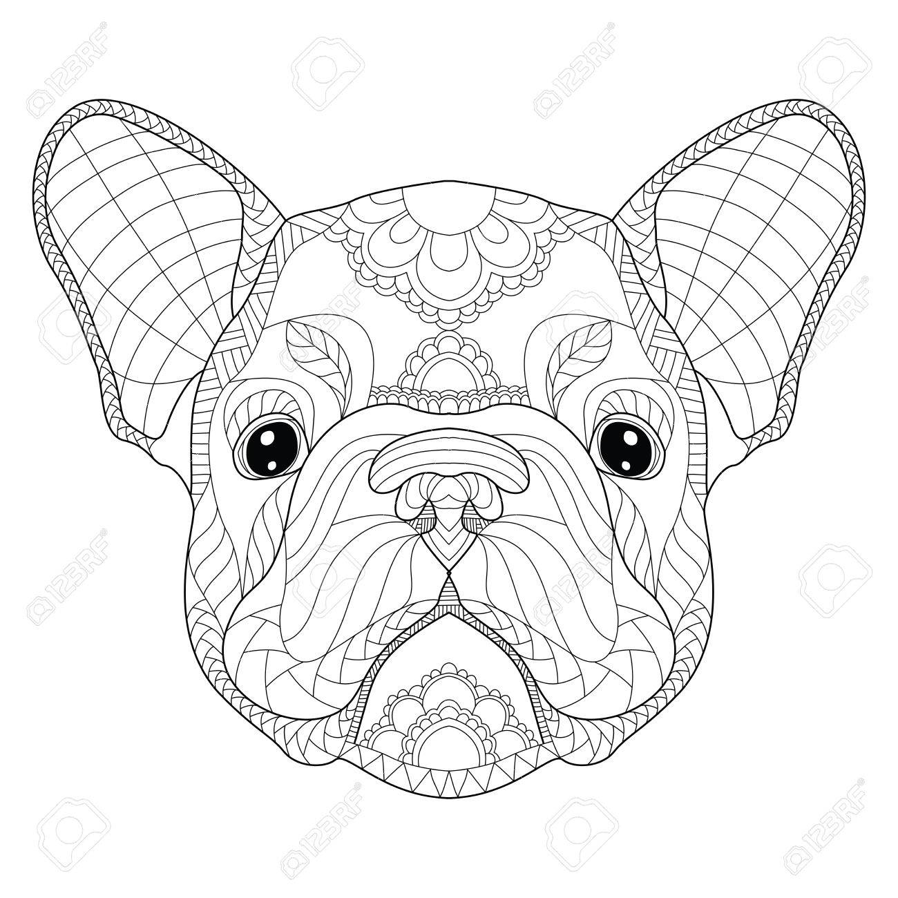 French bulldog puppy head zentangle stylized, vector, illustration, freehand pencil, pattern. - 80835459