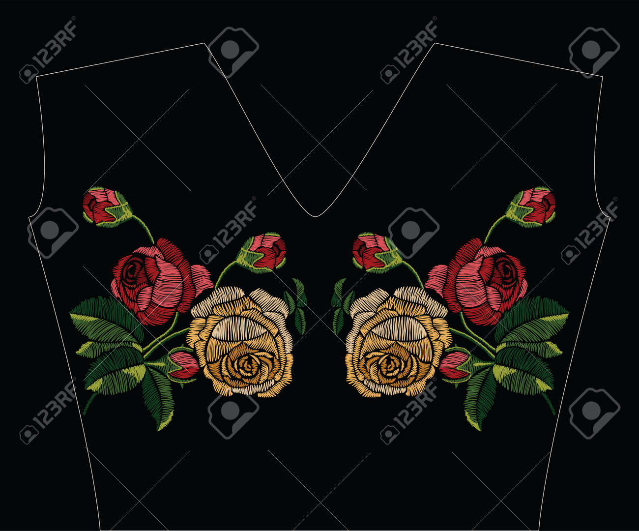 Embroidery stitches with red and yellow roses in pastel color. Vector fashion ornament on black background for traditional floral decoration. Pattern for textile and fabrics. Print for textile. - 80897955