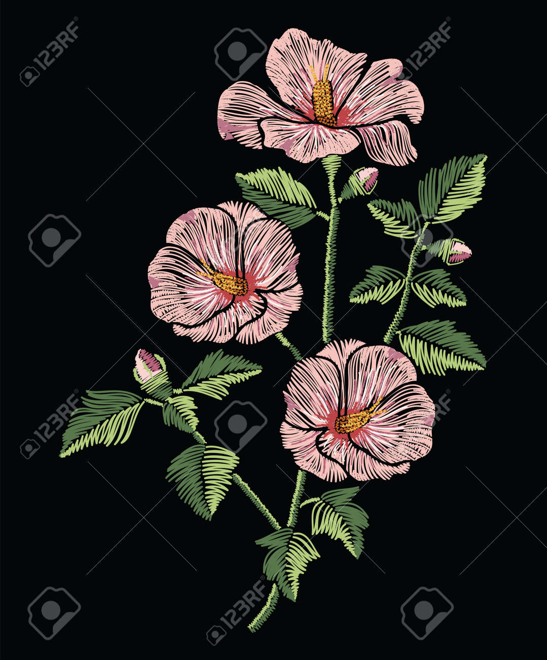 Embroidery stitches with pink hibiscus flowers with green leaves in pastel color. Vector fashion ornament on black background for traditional floral decoration. Pattern for textile and fabrics. Print for textile. - 80897937