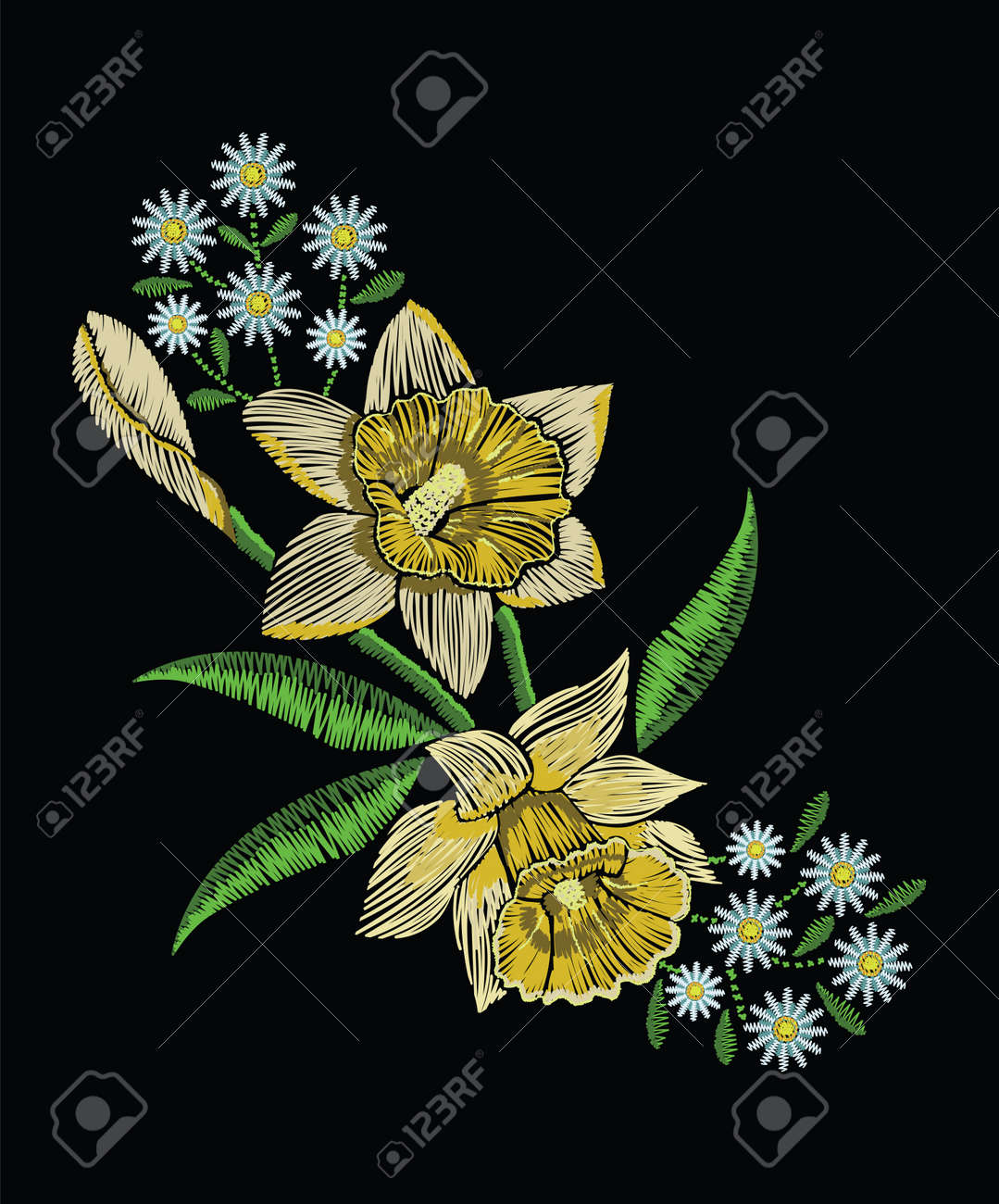 Embroidery stitches with yellow narcissus daffodil, chamomile and green leaves in pastel color. Vector fashion ornament on black background for traditional floral decoration. Pattern for textile and fabrics. Print for textile. - 80975999