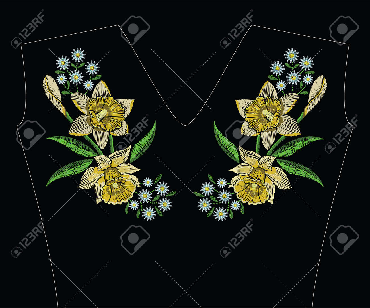 Embroidery stitches with yellow narcissus daffodil, chamomile and green leaves in pastel color. Vector fashion ornament on black background for traditional floral decoration. Pattern for textile and fabrics. Print for textile. - 80976000