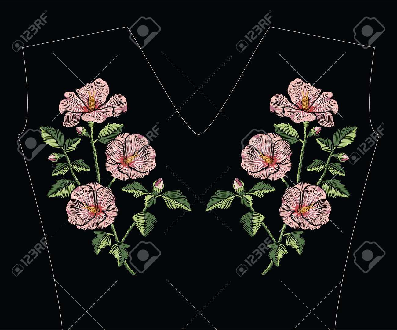 Embroidery stitches with pink hibiscus flowers with green leaves in pastel color. Vector fashion ornament on black background for traditional floral decoration. Pattern for textile and fabrics. Print for textile. - 80976001