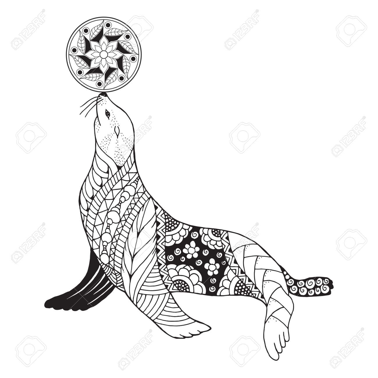 Zentangle stylized seal balancing ball on nose. Vector, illustration, freehand pencil, pattern. Zen art. Black and white illustration on white background. Adult anti-stress coloring book. Print for t-shirts. - 81014458