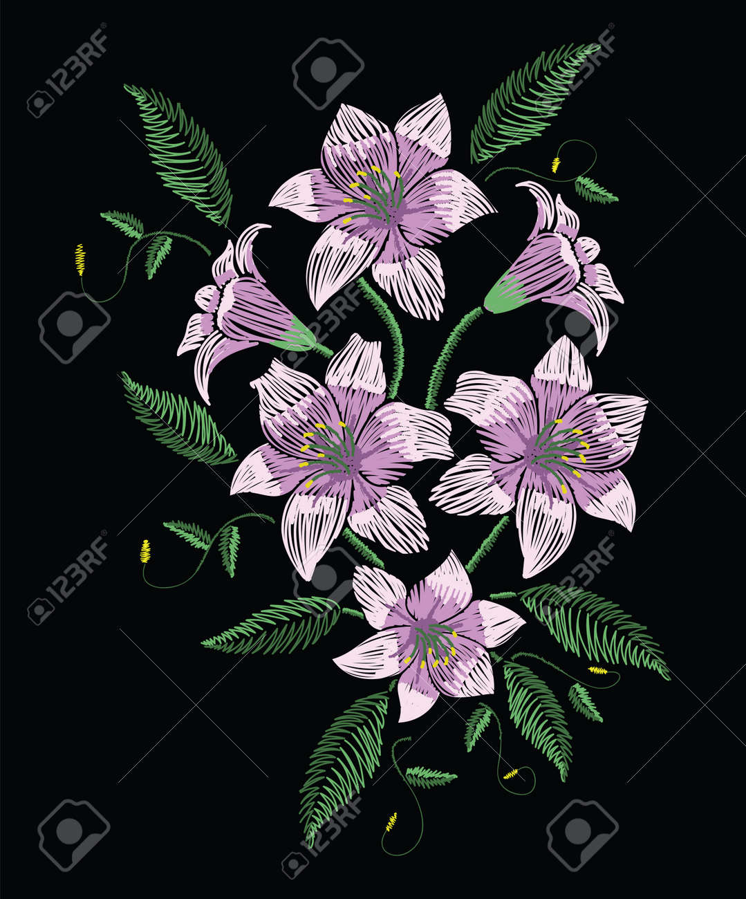Embroidery stitches with violet easter lily flowers with green leaves in pastel color. Vector fashion ornament on black background for traditional floral decoration. Pattern for textile and fabrics. Print for textile. - 81365465