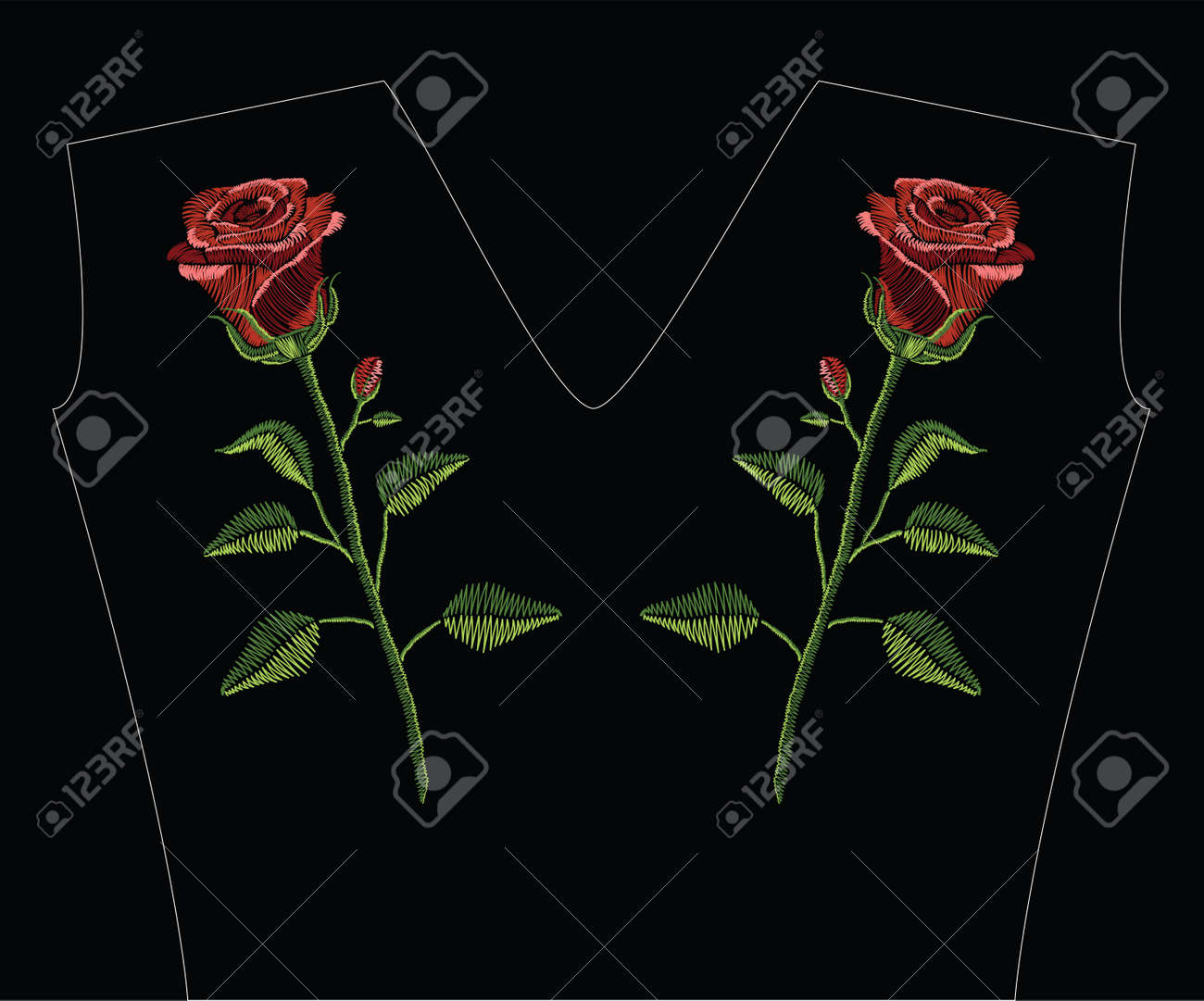 Embroidery stitches with red rose and green leaves in pastel color. Vector fashion ornament on black background for traditional floral decoration. Pattern for textile and fabrics. Print for textile. - 81365494