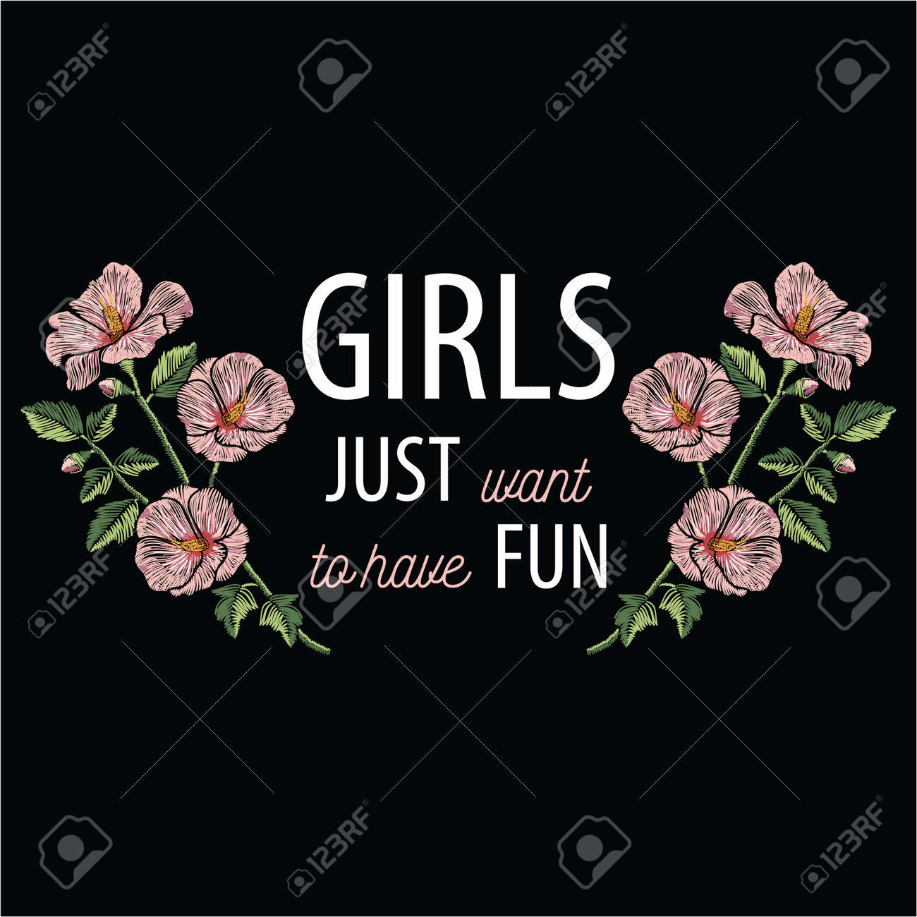 Embroidery stitches with pink hibiscus flowers and slogan girls just want to have fun in pastel color. Vector fashion ornament on black background for floral decoration. Pattern for textil. Print for fabrics. - 82073093