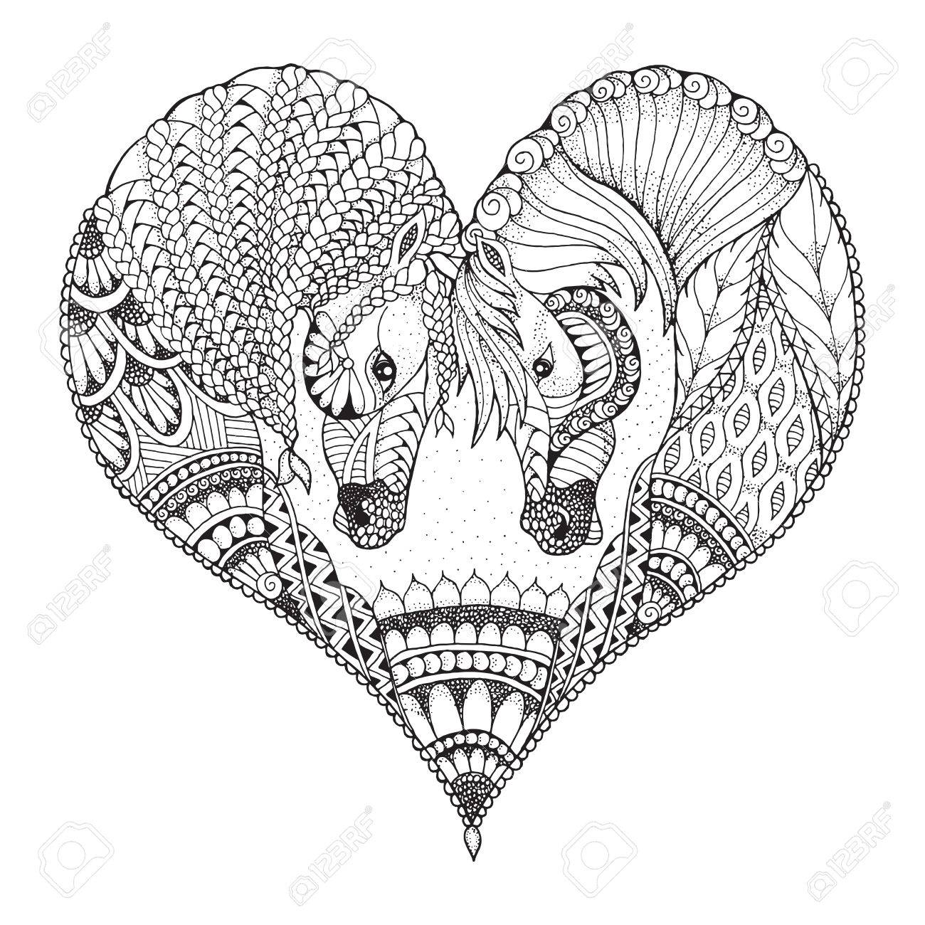 Two horses showing affection in a heart shape. Zentangle and stippled stylized vector illustration. Pattern. Black and white illustration on white background. Adult anti-stress coloring book. Print for t-shirts. - 82073090