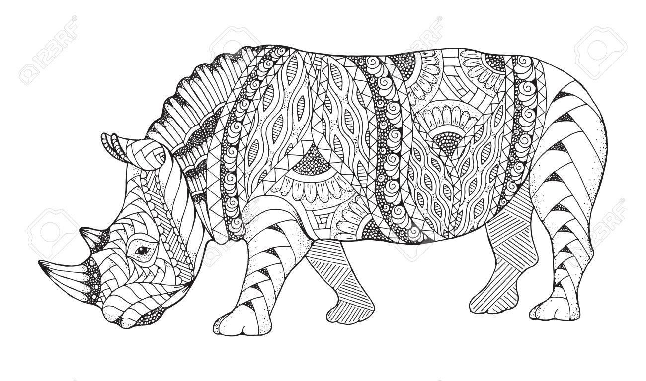 Coloriage En Ligne Rhinoceros.Rhino Zentangle Animal Stylise Vecteur De Rhinoceros Illustration Modele Art Zen Illustration Noir Et Blanche Sur Fond Blanc Livre De Coloriage