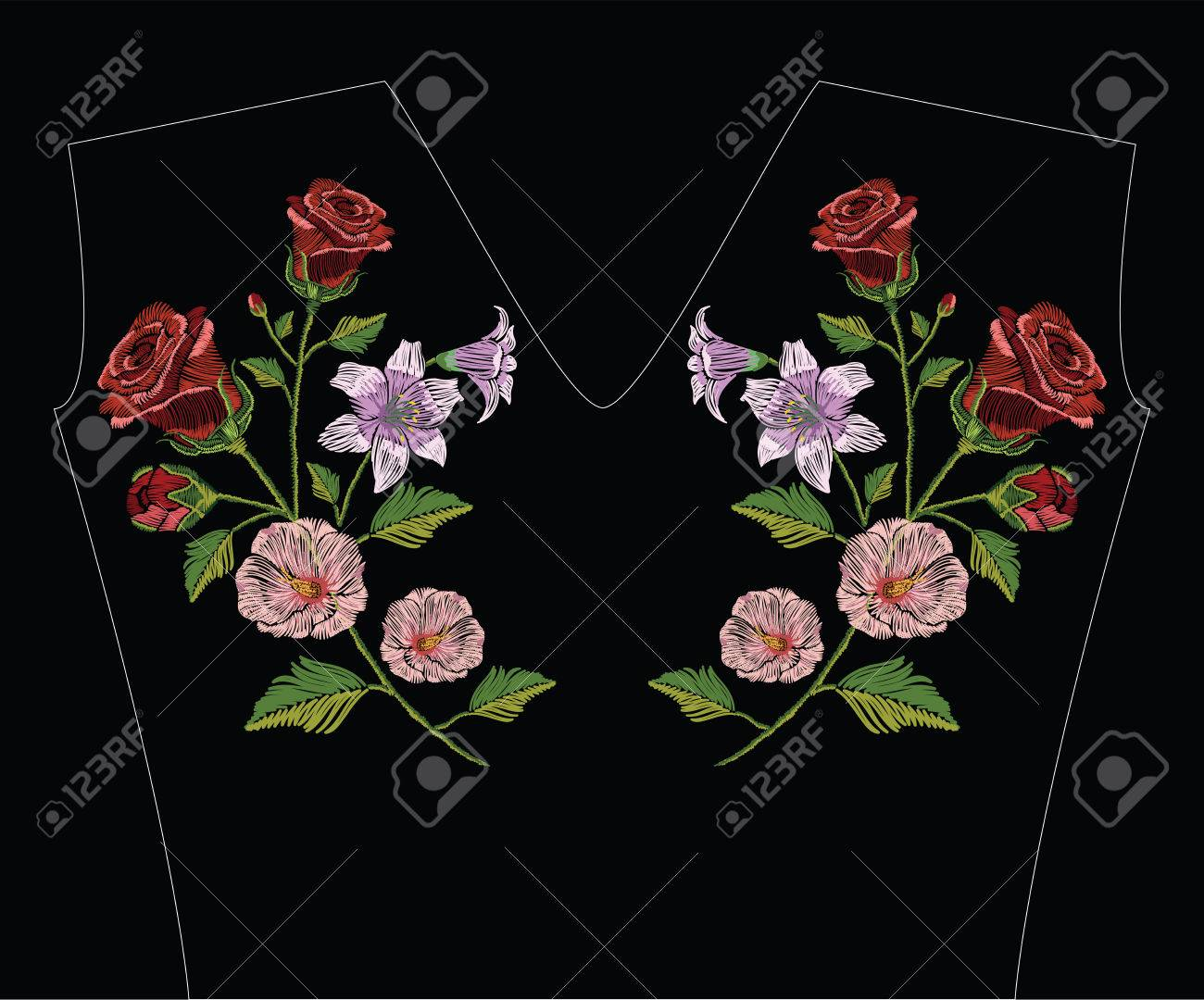 Embroidery stitches with hibiscus, rose and lily in pastel colors. Vector fashion ornament illustration on black background for floral decoration. Pattern for textile. Print for fabrics and t-shirts. - 82070742