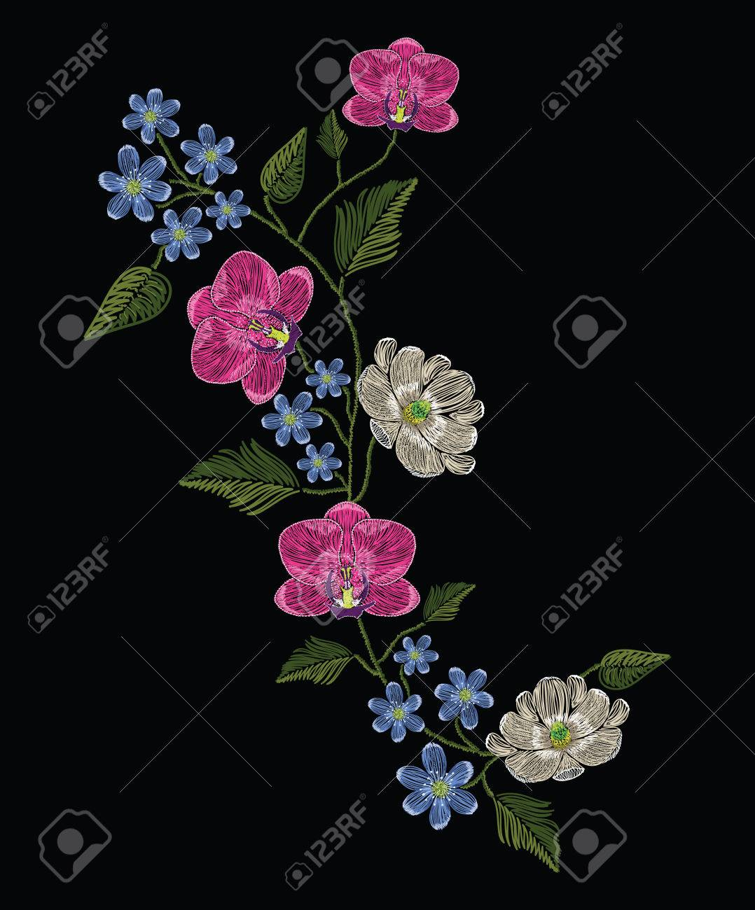 Embroidery stitches with orchid, magnolia and hepatica flower.. Decoupage. Vector fashion ornament on black background for traditional floral decoration. Pattern for textile and fabrics. Print for textile. - 82117567