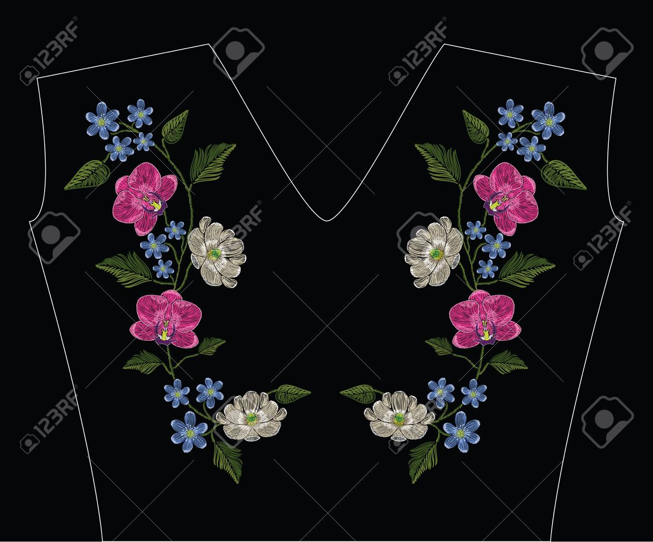 Embroidery stitches with orchid, magnolia and hepatica flower. Decoupage. Vector fashion ornament on black background for traditional floral decoration. Pattern for textile and fabrics. Print for textile. - 82151580