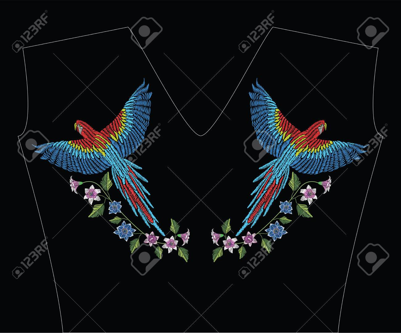 Macaw ara parrot with narcissus, tulip anfd lily flower. Embroidery stitches stylized vector illustration. Traditional floral pattern for textile. Print for fabrics. - 82408364